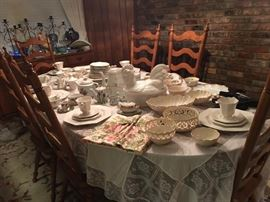 Tell City Table & 8 High Back Chairs