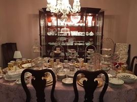 Solid Cherry Table with 8 Chairs & Marching China Canibet