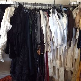 Victorian/Edwardan Collection: dresses, boudior pieces, whites, bloomers, corest covers, corsets, bustle skirts, tops, jackets, capes, furs. We've got silks, lawn cotton, wool, and more.