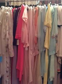 Rack of vintage nightgown/peignoir sets. PACKED!