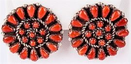 Lot 50 - Jewelry Sterling Silver Zuni Coral Earrings