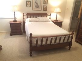 Queen Size Cherry Bed and Nightstands