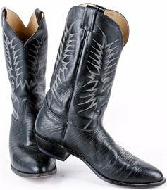 Lot 122 -Pair of Nocona Black Leather Cowboy Boots Size 14D