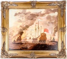 Lot 149 - Art Painting 18thC. Naval Sea Battle Sailing Ships