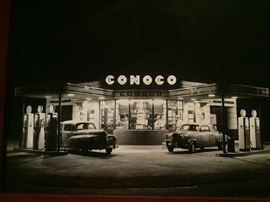 an early 1950's photo of the old Jefferson Street Conoco Station