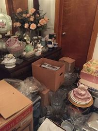 boxes and boxes of silver, crystal, china, punch bowl sets--