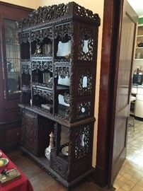 Large antique Chinese carved etagere / cabinet / stand