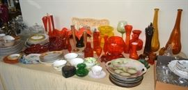 Tables of Vintage Glass, including Blenko