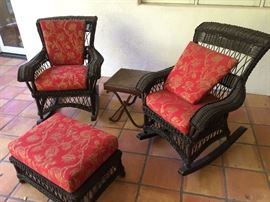 Wicker Rockers with Ottomans