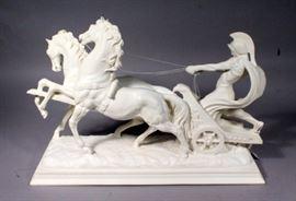 "A. Santini Ben Hur Roman Chariot Resin Sculpture, 22"" x 16"" x 8"""