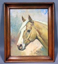 "Orren Mixer (1920-2008, American) Original Oil on Wood ""Surgeon"", Framed, 22"" x 26"""