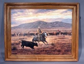 """A. Tim Cox (1957-, American) SIGNED Giclee Print on Canvas """"Working Gray Cutting Horse"""", Framed, 40"""" x 32"""""""