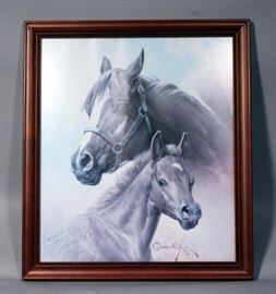 """Orren Mixer (1920-2008, American) SIGNED """"Mare and Colt"""" Framed Print, 18"""" x 20.5"""""""