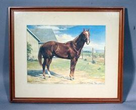 """Orren Mixer (1920-2008, American) """"Traveler 1885-1910"""" Framed Matted Print, 25.5"""" x 21.5"""""""