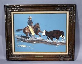 """Carl Hill Original Oil on Canvas """"Gotcha"""" World Champion Holey Sox, Framed and Matted, 31"""" x 25"""""""