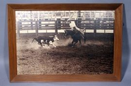 """James Cathey Framed Cattle Roping Photo, 33.5"""" x 23.5"""""""
