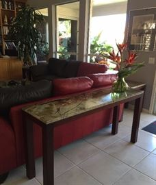 Custom Made Cherry Wood and Real Marble Tables, Leather Sofas, Art, Plants and more...