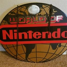 Large WORLD OF NINTENDO Hanging Store Display sign (VERY COOL !)