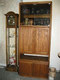 clock curio cabinet, oak cupboard