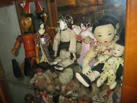wooden pinocchio and Asian dolls, owner was a world traveler toured the orient in 1963