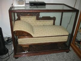 RARE child's fainting couch, folds out.  Special made case with UV glass.  Excellent condition, museum quality.