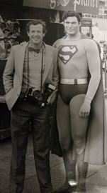 Hollywood promotional shot of Superman (Christopher Reeve) and Jimmy Olsen (Marc McClure), 1978