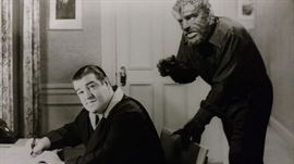 Lou Costello meets the Wolfman (Lon Chaney) 1948 photograph on Kodak paper