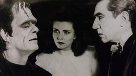 Frankenstein (Boris Karloff), Dracula, (Bela Lugosi), and Dr. Sandra Mornay (Lenore Aubert) in Abbott and Costello meet Frankenstein, 1948, printed on Kodak photograph paper