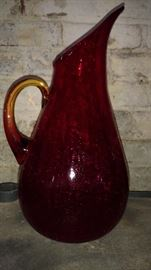 Beautiful red hand blown crackle glass pitcher with amberina handle