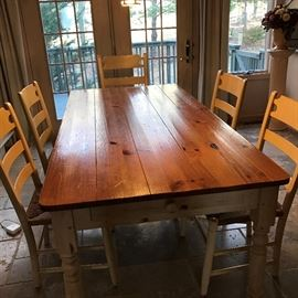 """Ethan Allen Farm Table w/ 6 Chairs -72""""L X 36""""W with Two Arm Chairs & 4 side Chairs"""