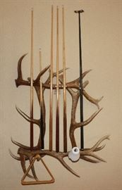 Antler pool cue rack
