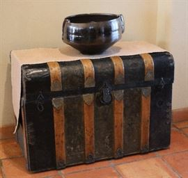 Antique trunk , decorative bowl
