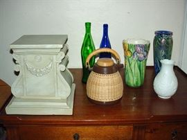 Grecian Stand Blown Glass Italian and German Pottery