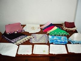 Vintage Linens Silk Scarves with oya