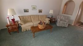 Vintage End Tables, Vintage Coffee Table and Sofa