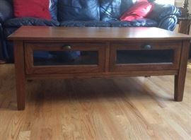 """contemporary / transitional coffee table w/two deep drawers (table measures 46x28x48"""")"""