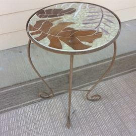 small metal and glass patio table