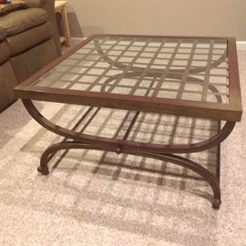 """32"""" square glass-top bronzed metal coffee table"""