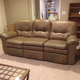 """83"""" Lazy Boy leather sofa -- two end seats recline"""