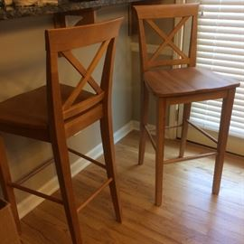 """two cross-back bar stools """"wheat"""" finish, made in Canada"""