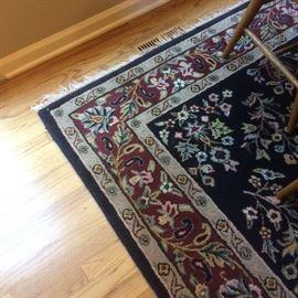 6x9 fringed area rug -- blue / crimson / ivory floral motif