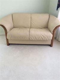 Yummy cream leather two cushion sofa