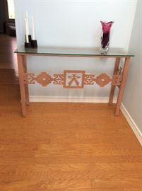Metal and glass entry table with Southwest flair