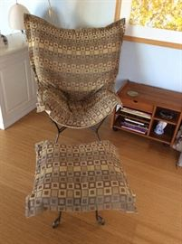 Sling chair and ottoman in beige