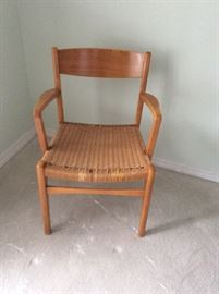 Teak & beech chair. Woven seat.  Sweden 10k 90