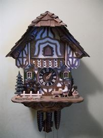 Sternreiter musical 1-day wind animated beer drinker cuckoo clock. Made in Germany, Swiss made music box mechanism, black forest chalet, hand painted!