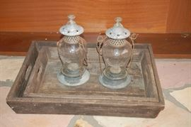 Outside lanterns and wooden serving tray
