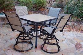 Outdoor high table and chairs