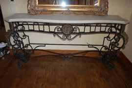 Beautiful custom wrought iron, scrolled table with marble top