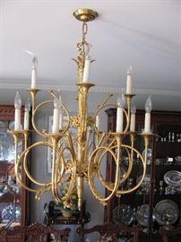 24k over bronze gilded 12 light horn chandelier